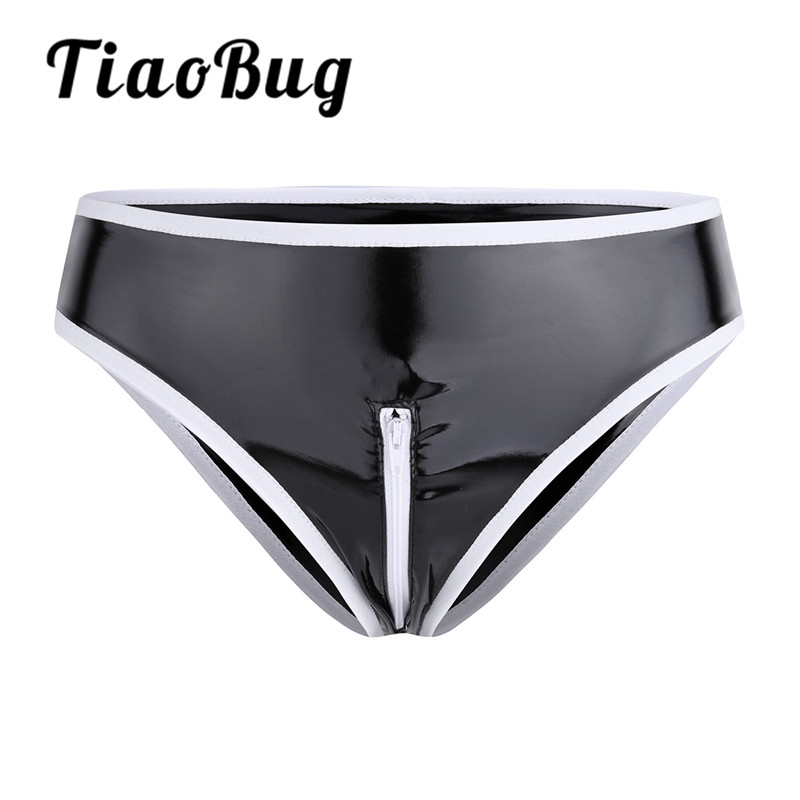TiaoBug Black Sexy Womens Lingerie Wetlook Patent Leather Crotch Zipper Panties Low Rise Low-rise with Elastic Waistband Briefs zebra underwear