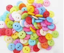 NBNNWK 10mm Round sewing Plastic Buttons assorted 12 colors mix randomly 300pcs Decorative Scrapbooking Button