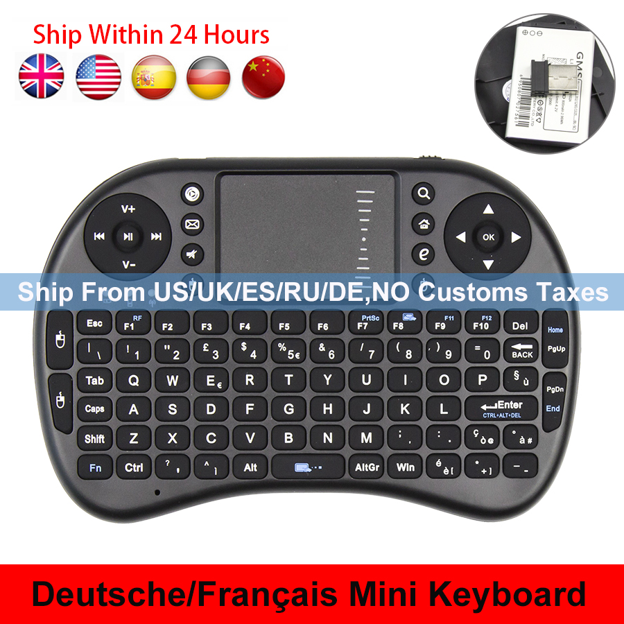 Hot i8 Russian English French German Version i8+ 2.4GHz Wireless Keyboard Air Mouse Touchpad Handheld for Android TV BOX Mini PC new ru for lenovo u330p u330 russian laptop keyboard with case palmrest touchpad black