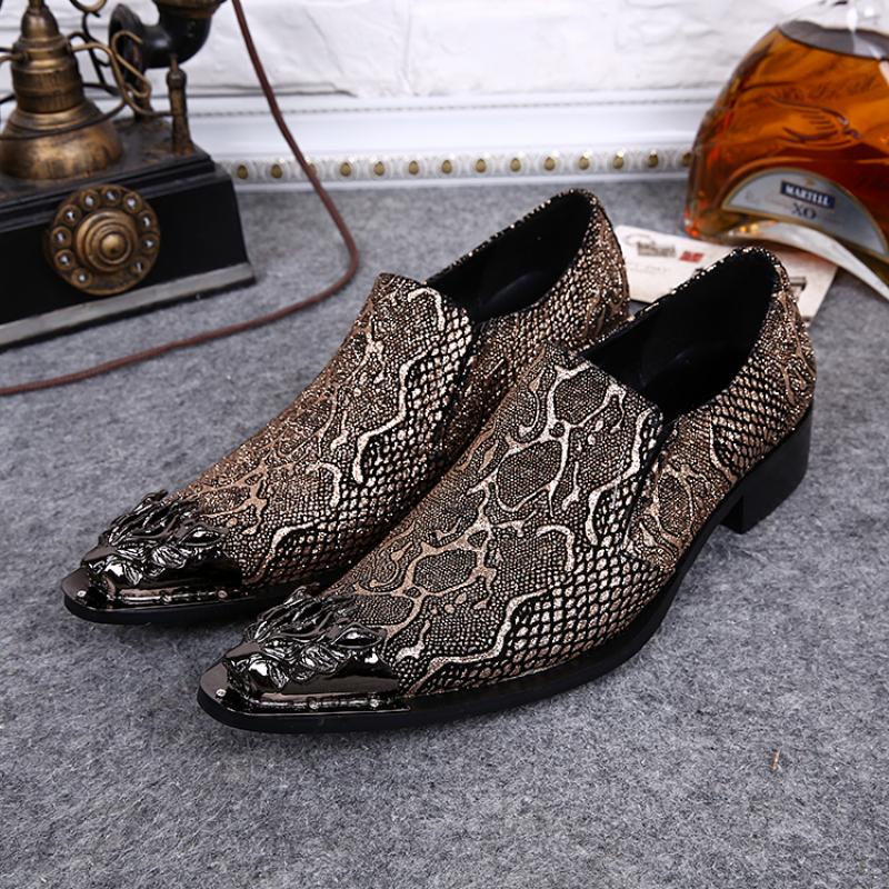 Plus Size 38-46 Genuine Leather Men Dress Shoes Fashion Slip on Oxfords Wedding and Party Shoes Men Flats Christmas Gifts