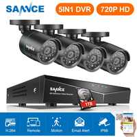 SANNCE 8CH HD 720P Securiry Video System 5IN1 DVR With 4PCS 1280TVL TVI Smart IR Outdoor Weatherproof Camera Kit Home CCTV Kits