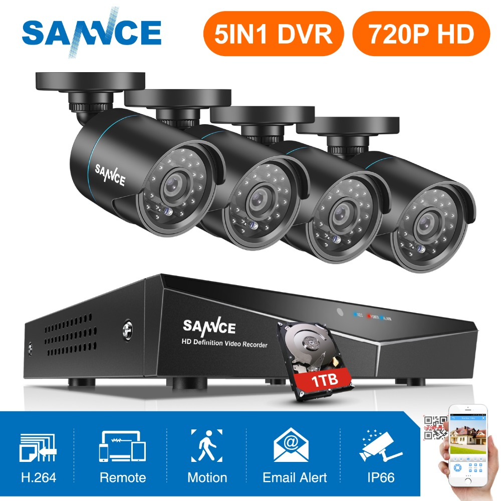 SANNCE 8CH HD 720P Securiry Video System 5IN1 DVR With 4PCS 1280TVL TVI Smart IR Outdoor Weatherproof Camera Kit Home CCTV KitsSANNCE 8CH HD 720P Securiry Video System 5IN1 DVR With 4PCS 1280TVL TVI Smart IR Outdoor Weatherproof Camera Kit Home CCTV Kits