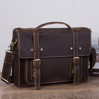 Vintage NEW Men's Genuine Leather briefcase 13 Cowhide Business bag Cow leather Laptop Small messenger bag PC work tote 1159