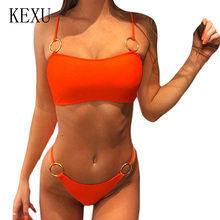 KEXU Sexy Two Piece Sets Steel Sling Spaghetti Strap Hollow Out Swimsuit Fashion Summer Off Shoulder Bodycon Bandage Bodysuits