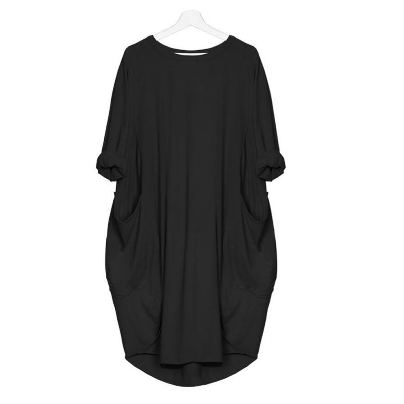 HTB1BgSZJ4SYBuNjSsphq6zGvVXak Women's Fashion Dress Womens Pocket Loose Dress Ladies Crew Neck Casual Long Tops Dresses Plus Size augu10