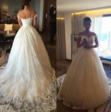 Luxury White Ball Gown Wedding Dresses Modern Bridal Dress Lace Sweep Train Party Gowns Princess Styles Real Pictures