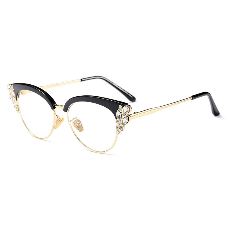 Acetate Optical Eyeglasses Fashion Female Stylish Frame Spectacles for Women Prescription Glasses Frame with Diamond Decoration