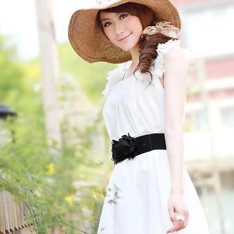 Women Ladies Belts Cute Flower Decorated Stretchy Elegant Party Wedding Bridesmaid Retro Elastic Belt Waistband Black