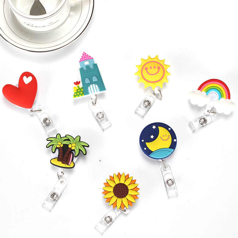 Lovely Heart Clouds House Design Nurse Retractable Badge Reel Pull ID Card  3D Badge Holder Belt Clip Hospital School Office