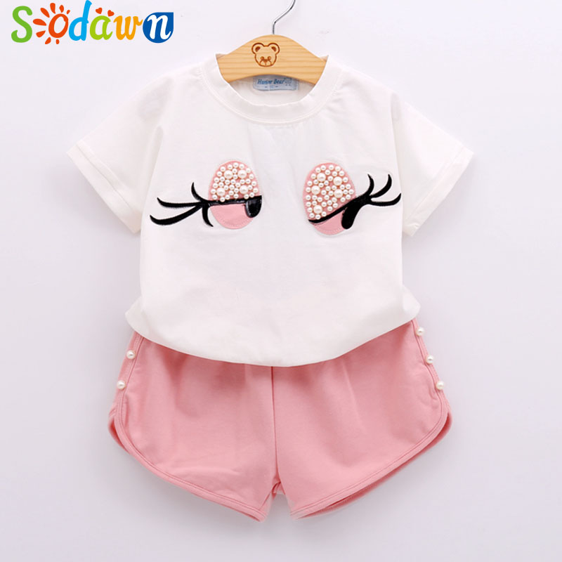 pearl girls clothes set lovely long eyelashes toddler Girl tops + pants girls suit kids clothes