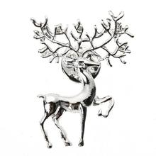 Fashion Brooch Matte Gold Silver 2019 Matte Elk Brooch Art Christmas Badge Men Women Jewelry Scarf Garment Accessory Gifts