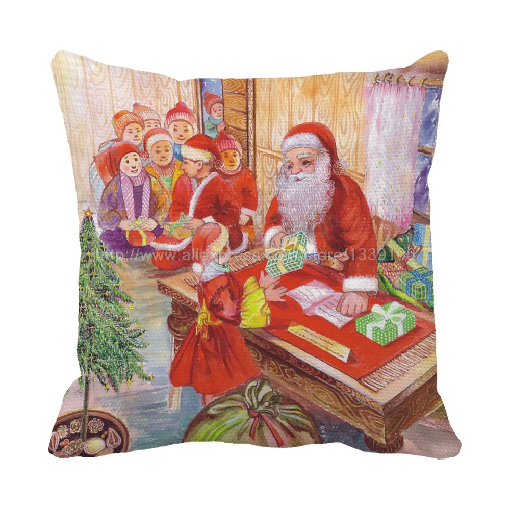 Pillow Chair For Kids - Santa distribute gifts to kids best wishes print christmas chair bed cushions home decor almofada sofa