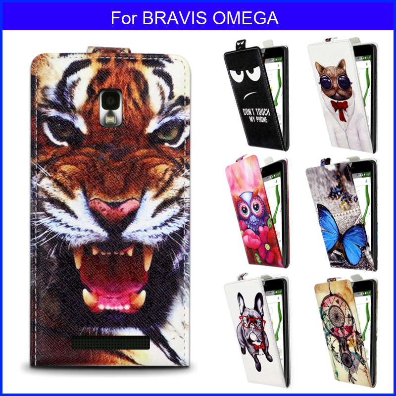 Factory price Fashion Patterns Cartoon Luxury Flip up and down PU Leather Case for BRAVIS OMEGA,Free gift