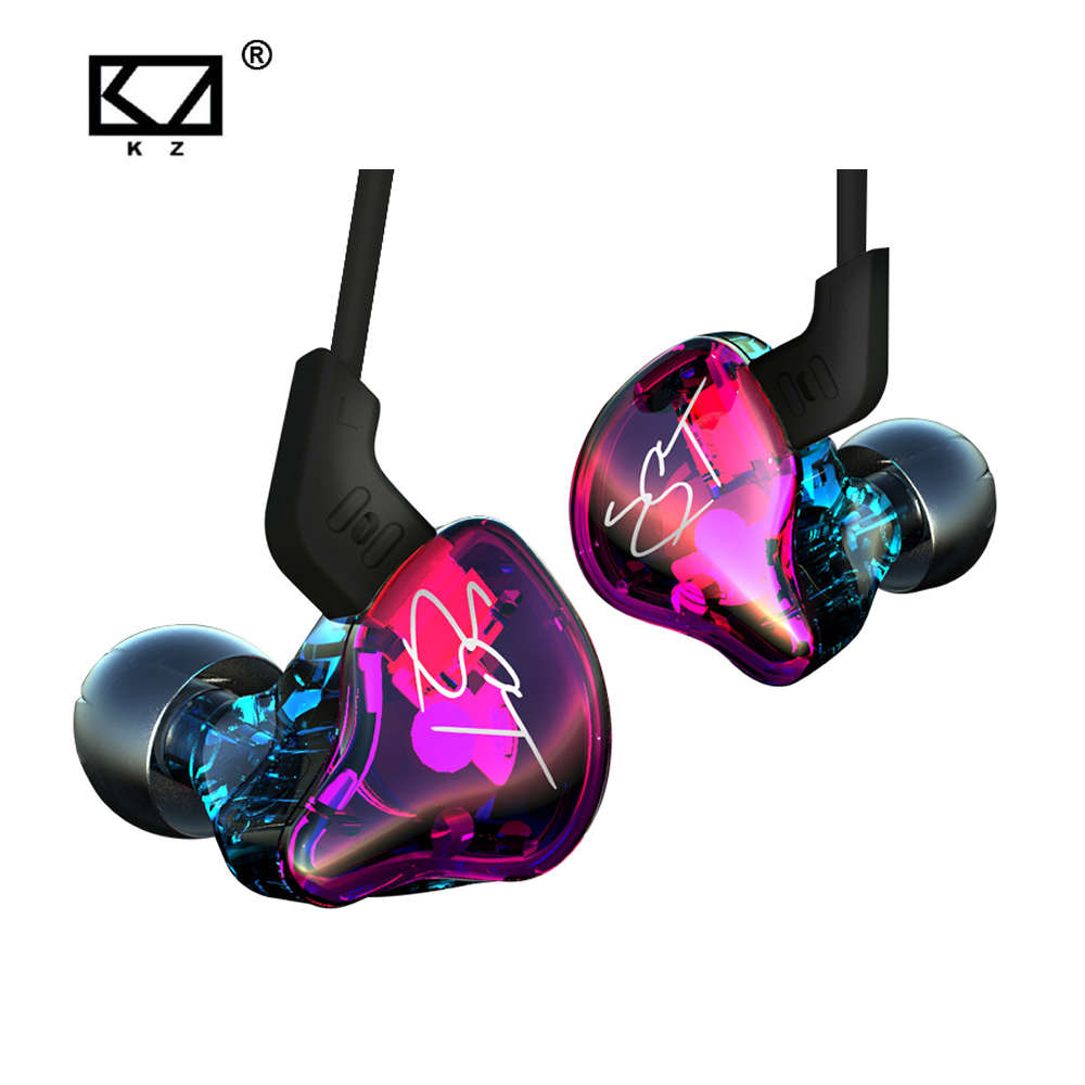 KZ ZST Colorful Balanced Armature With Dynamic In-ear Earphone BA Driver Noise Cancelling Headset With Mic Replacement Cable kz zsr bluetooth headphones balanced armature with dynamic in ear earphone 2ba 1dd unit noise cancel headset replacement cable