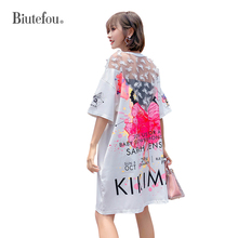 2019 Summer cartoon appliques patch designs dresses sequined lace women chic