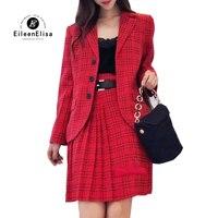 Комплект из двух предметов Для женщин 2018 осень зима с длинными рукавами куртка и юбка красный плед Женский костюм Повседневное