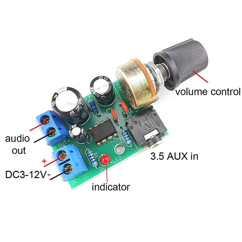 LM386 10W Audio Amplifier Board Mono 3.5mm DC 3-12V Volume Control Mini AMP Module Adjustable Volume