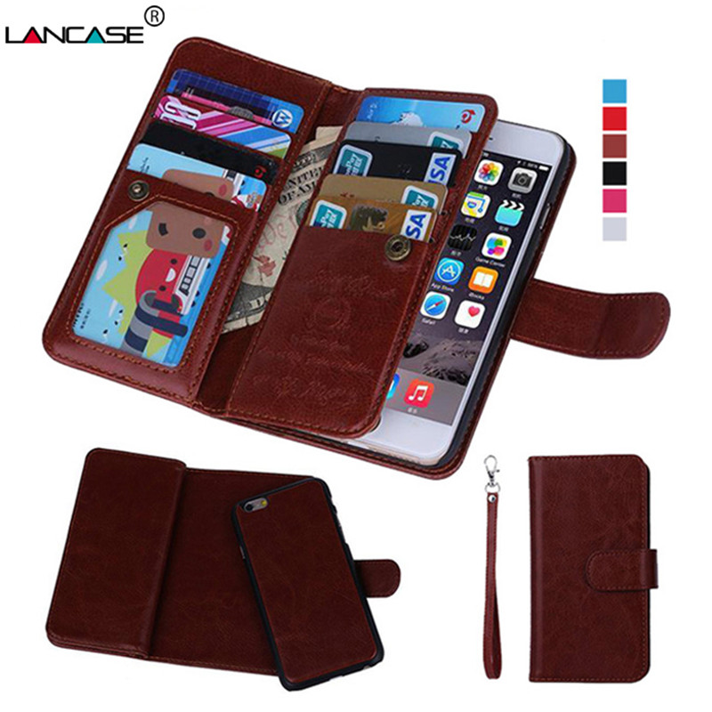 2 In 1 Combo Wallet Leather Flip Case For Iphone 8 Plus Case 6 7 Plus Cover Multifunction Card Slots Strap Hangbag Purse Coque High Safety