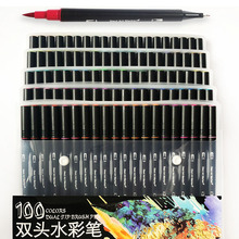 купить High Quality 100 Color Art Markers Dual Tips Brush Fineliner Pens Water for Calligraphy по цене 342.71 рублей