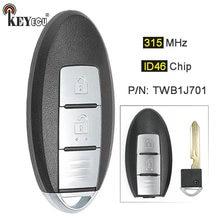 KEYECU 315 МГц ID46 чип TWB1J701 85E3-1HH0D умный дистанционный ключ-брелок от машины 2 кнопки для Nissan МАРТА K13 Micra K13 лист
