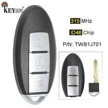 Keyecu 315mhz id46 chip twb1j701 85e3-1hh0d inteligente remoto carro chave fob 2 botão para nissan março k13 micra k13 folha