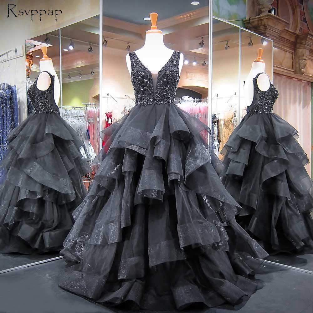 Long Puffy   Prom     Dresses   2019 V-neck Sleeveless Top Beaded Crystals Ball Gown Backless African Black   Prom     Dress