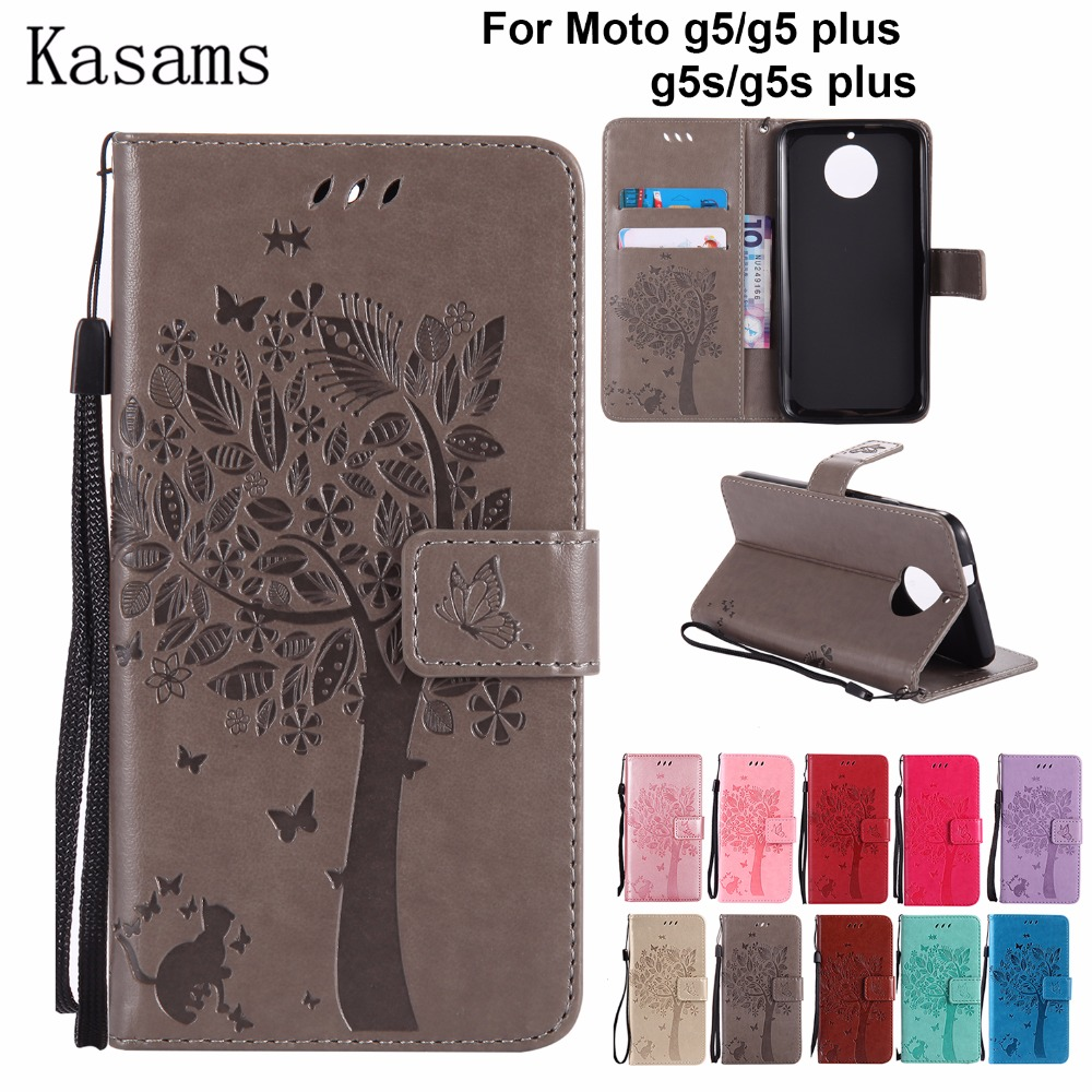 competitive price 7f7a9 d1dad US $3.64 11% OFF 3D Tree For Motorola Moto G5 Plus G5S Plus PU Leather Case  For Moto G5 G5S Phone Shell Wallet Flip Cover Moto G 5S s celular-in Flip  ...
