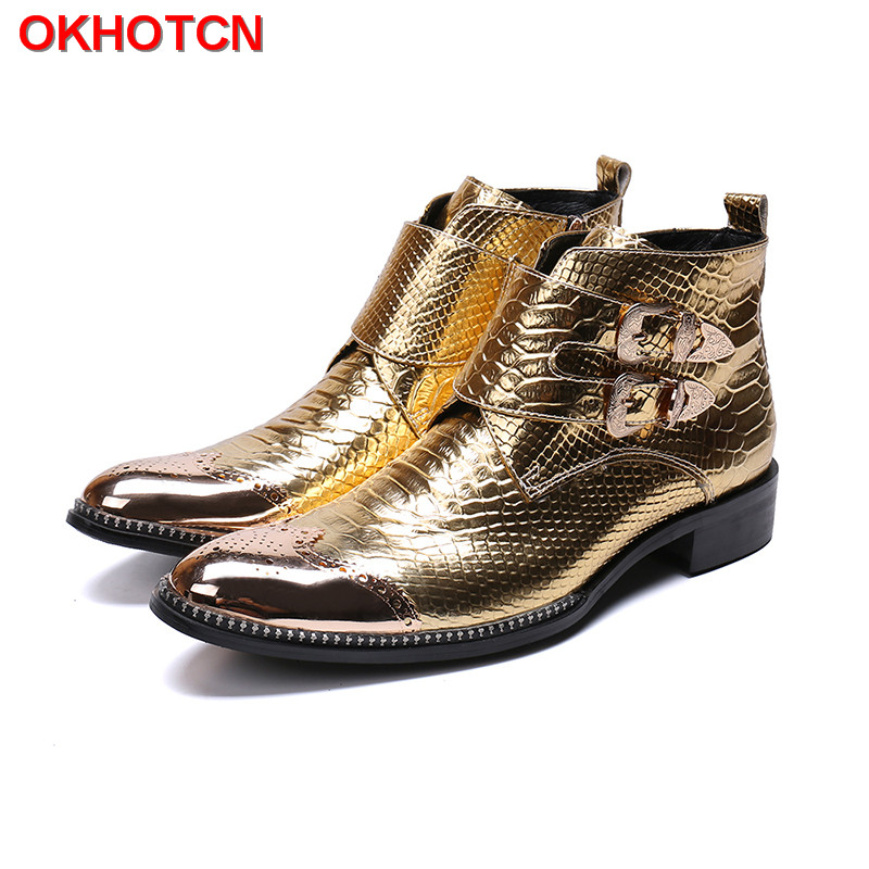 Patent Leather Winter Boots For Men Gold Steel Toe Western Boots Cowboy Boots Men Buckle Straps Work Shoes Safety Hot On Sale
