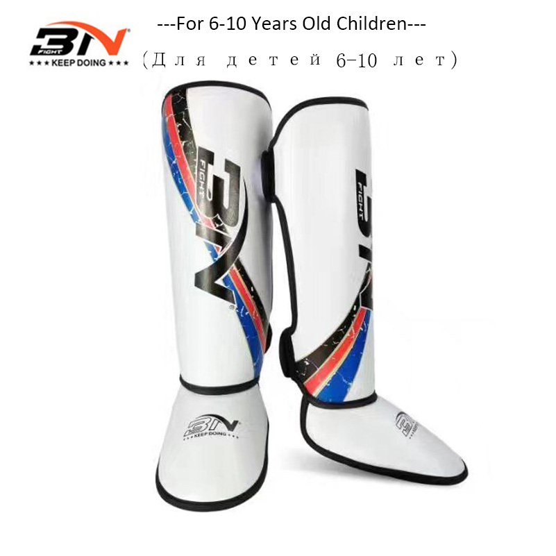 BN Kids Boxing Shin Guards Kick Boxing Protector Karate Taekwondo Training Leg Ankle Protection Children Be Brave Shin Pads wtf taekwondo sparring gear protectors guards complete one set helmet chest arm shin groin guard jockstrap protector