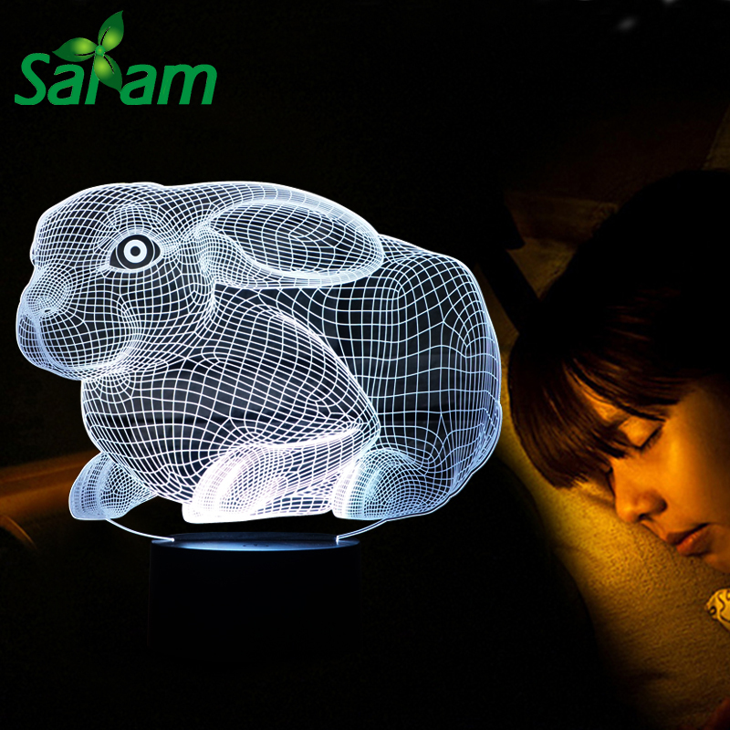 buy Lovely Rabbit 3D LED Table Lamp with 7 Colors Changing as Children