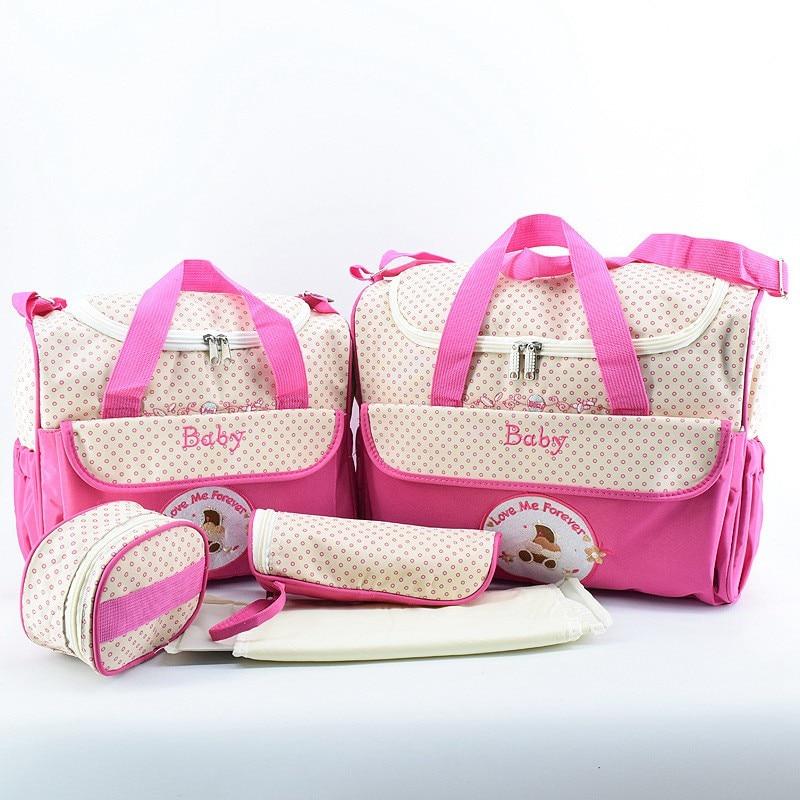 MOTOHOOD 5pcs Baby Diaper Bags Sets For Mom Maternity Bags High Capacity Multifunction Travel Nappy Bag Organizer Zipper