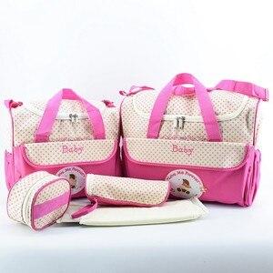 Image 2 - MOTOHOOD 5 adet bebek bebek bezi çantaları setleri anne analık çanta yüksek kapasiteli çok fonksiyonlu seyahat Nappy çanta düzenleyici fermuar
