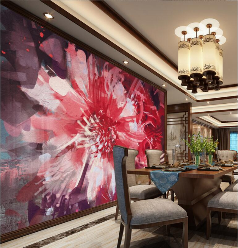 Red Wallpaper for Walls Abstract floral Flower Wall Mural Girls
