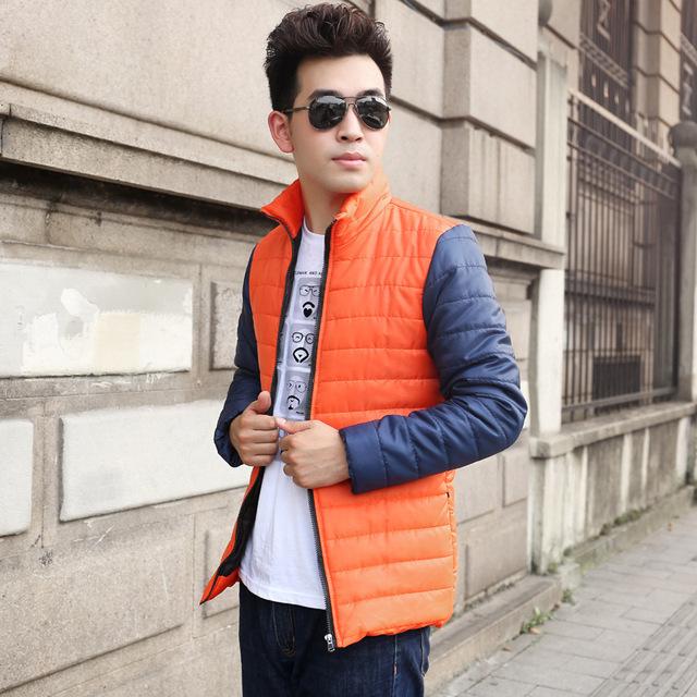 Costura Jaqueta Parka Homens 2016 dos homens Novos de Inverno Moda Casual de Algodão Jaqueta Masculina Moda Cor Hit Homens Parka XXXL