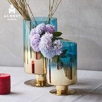 Modern minimalist gradient blue plating vase home decoration living room table flower arrangement decoration water flower