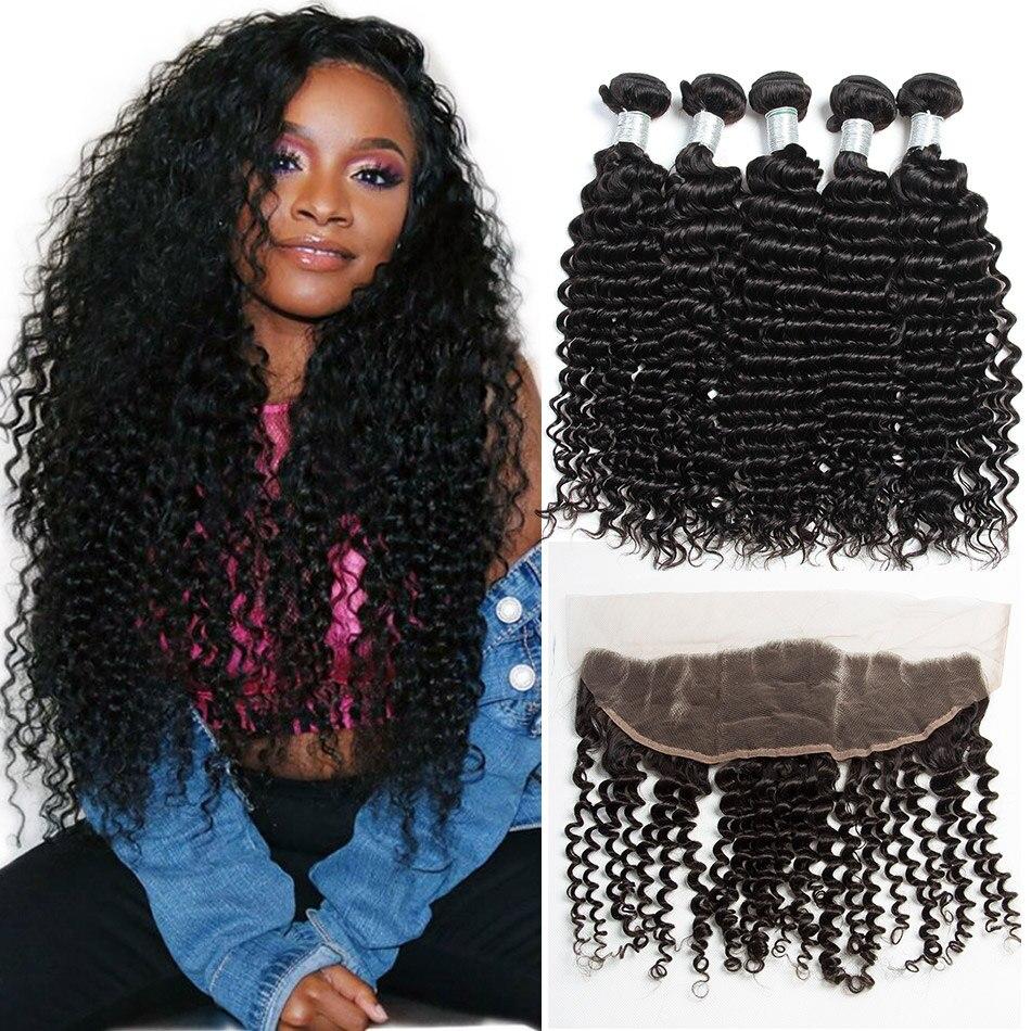 ALIBELE Malaysian Deep Curly Bundles With Frontal Closure Virgin Human Hair Extension Deep Wave Frontal Closure With 3 4 Bundles gorros de baño con flores