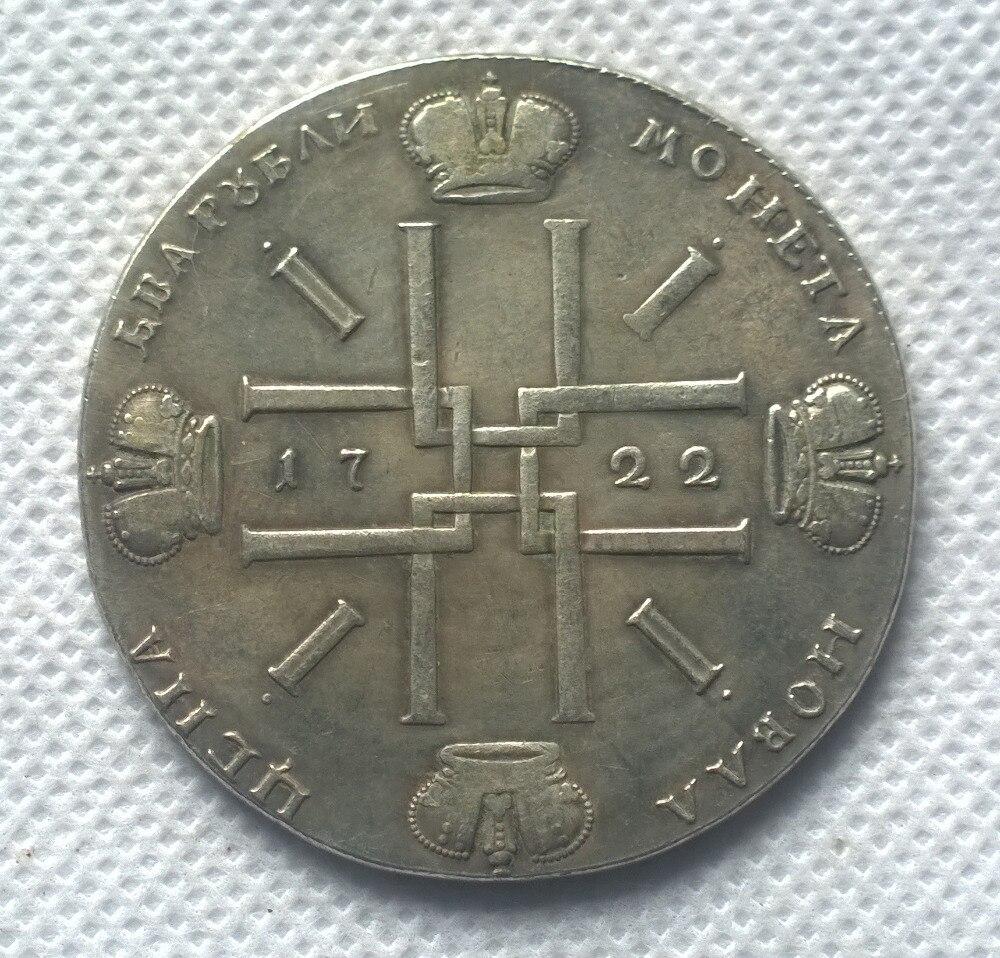 2 рубля 1722 Россия копия монеты памятные монеты Реплика монеты медальоны  коллекционные вещи купить на AliExpress
