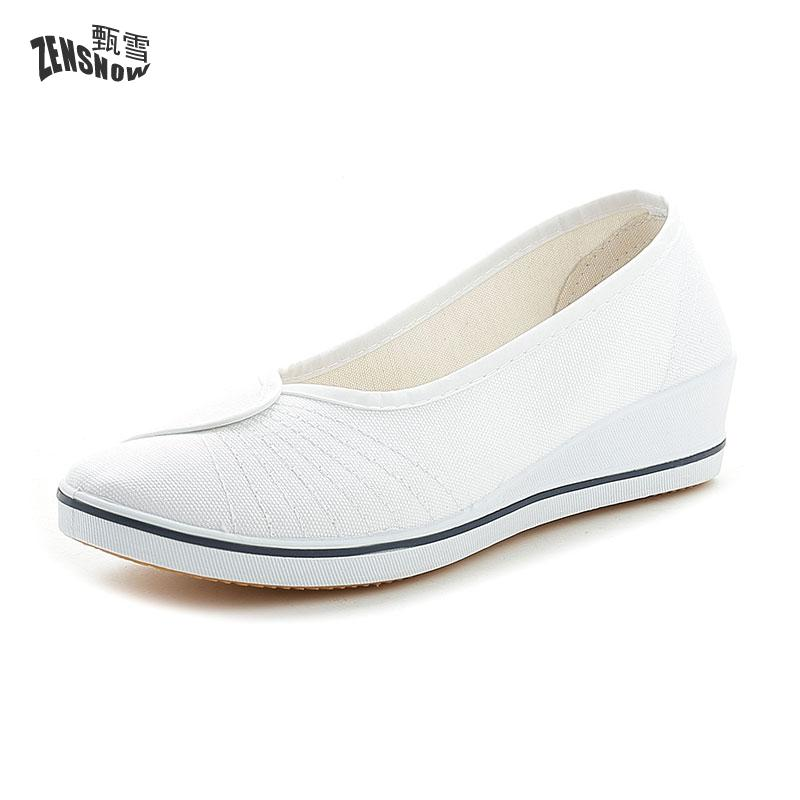 Nurse Shoes, White Slope With Comfortable Summer Black Work, Canvas Beauty Shoes blue and white canvas anti static shoes esd clean shoes pharmaceutical shoes work shoes add cotton
