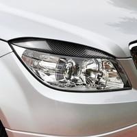 2PCS Carbon Fiber Car Hood Light Headlight Eyebrows Stickers Accessories For Mercedes Benz C Class W204 C180 C200 C260 C300 C350