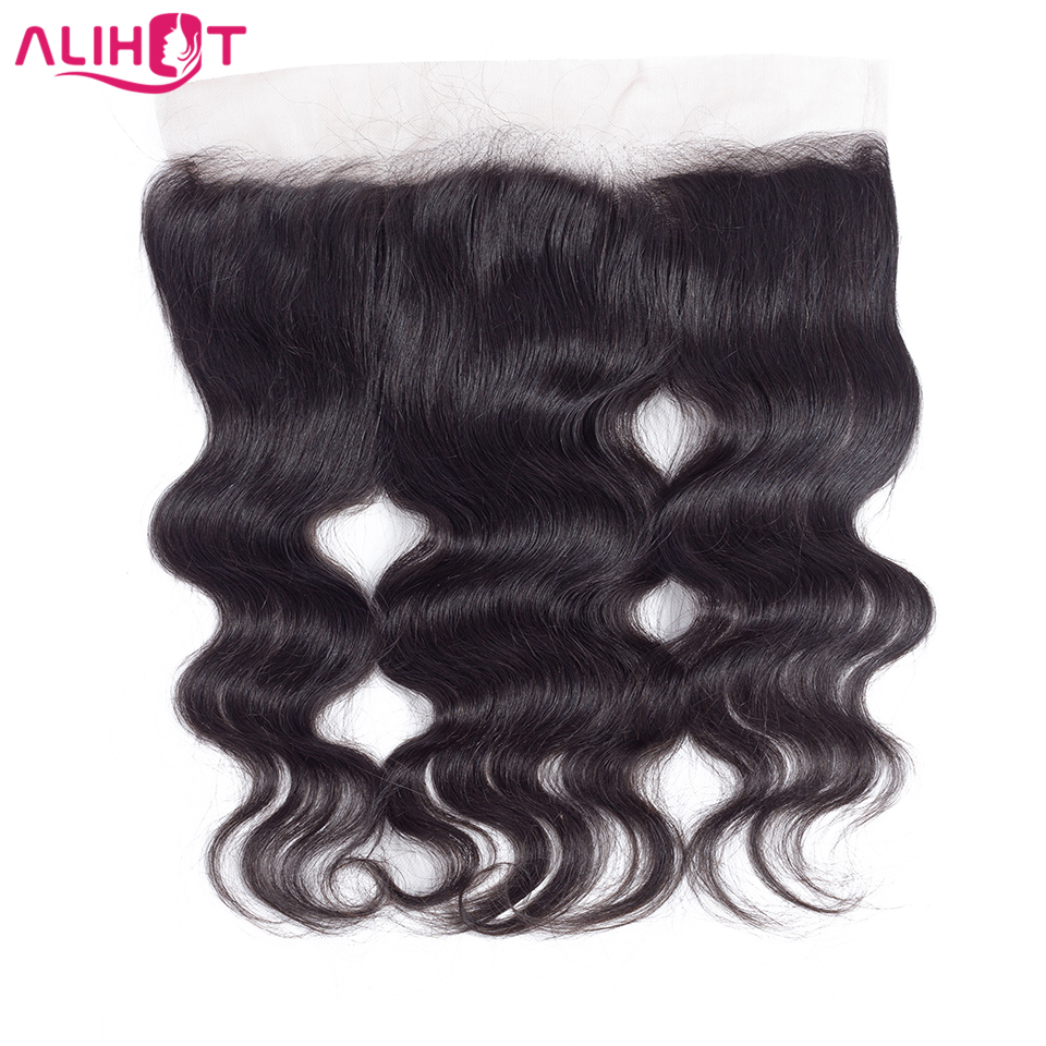 ALI HOT Brazilian Body Wave Remy Human Hair Closure 13*4 Pre Plucked Ear To Ear Free Part Natural Color Lace Frontal Closure