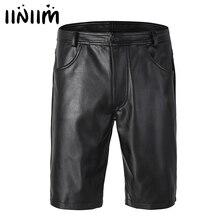 Iiniim Zwart Heren Lederen Boxer Shorts Half Met Zakken Hot Shorts Met Rits Sluiting Voor Mannen Club Party Kleding