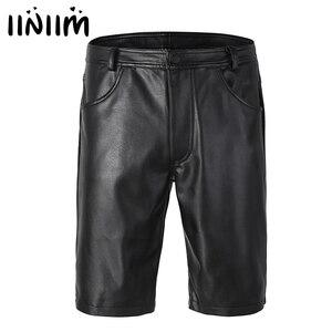 Image 1 - Iiniim pantalones cortos bóxer de piel para hombre, negros, con bolsillos y cierre de cremallera, ropa de fiesta para discoteca