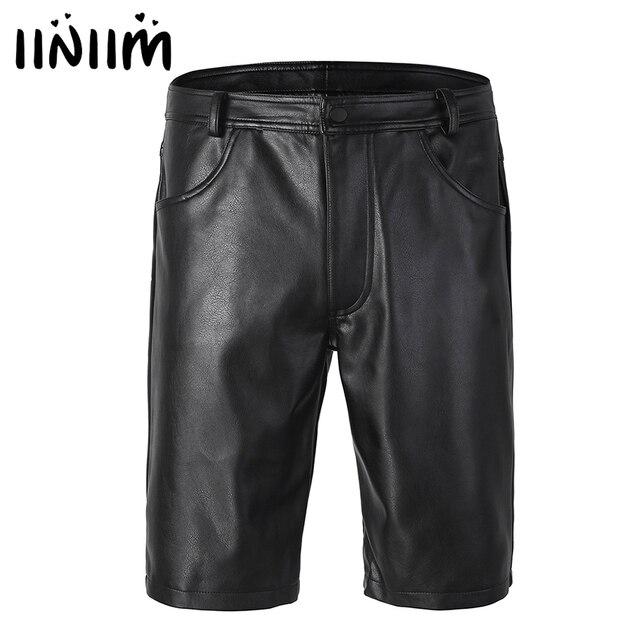 Iiniim pantalones cortos bóxer de piel para hombre, negros, con bolsillos y cierre de cremallera, ropa de fiesta para discoteca