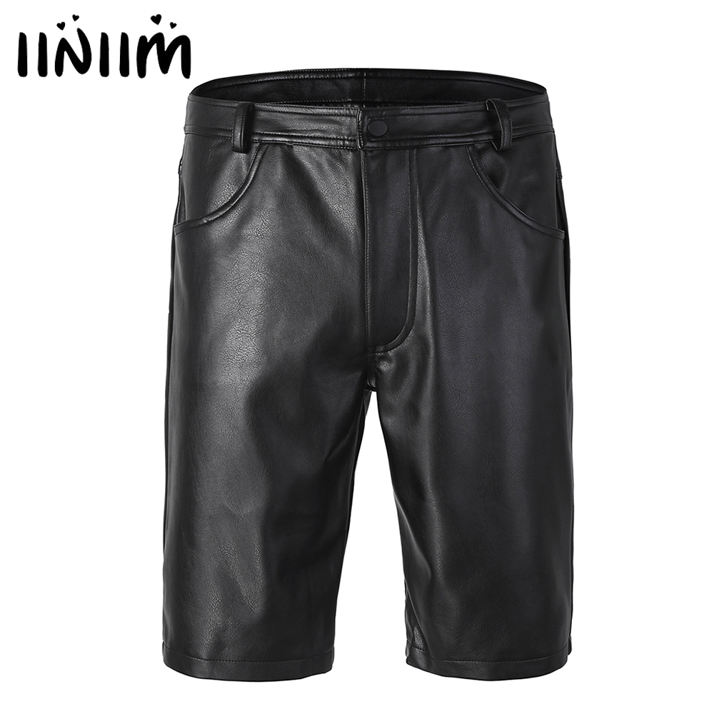 Iiniim Black Mens Leather Boxer Shorts Half With Pockets Hot Shorts With Zipper Closure For Men's Club Party Clothes
