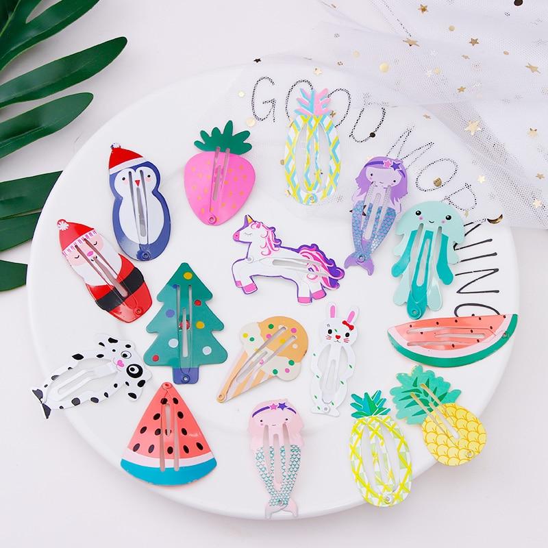 1Set Girls Cute Cartoon Animals Fruits Shape Hairpins Lovely Hair Ornament Headband Hair Clip Barrette Children Hair Accessories