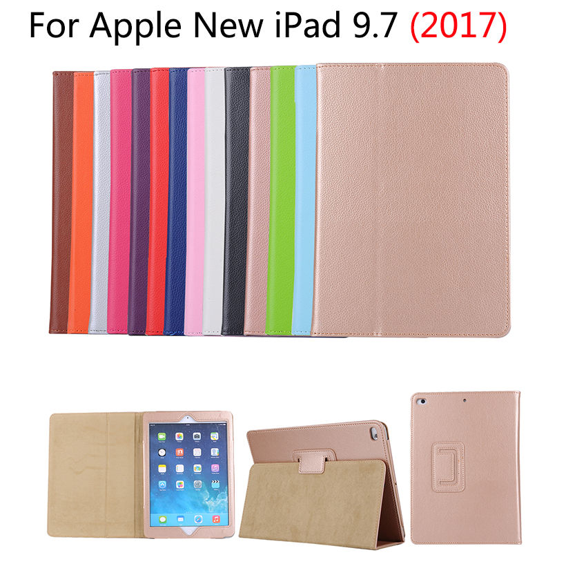 Slim Lichi PU Leather Case For Apple New iPad 9.7 inch 2017 A1822 Smart Cases Cover Funda Tablet Folio Stand Skin Shell coque fundas for apple ipad air ii 2 pu leather stand luxury new cover case for ipad 6 a1566 a1567 9 7 inch cartton wallet shell