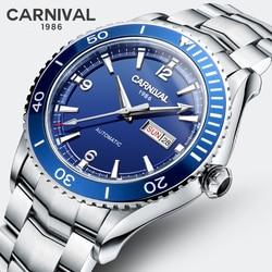 Szwajcaria karnawał zegarek do nurkowania mężczyźni MIYOTA mechanizm automatyczny mechaniczny sport duży zegarek cyfrowy relogio masculino Luminous Sapphire