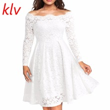 KLV Women Long Lace Sleeve Patchwork Floral Boat Neck Vintage A line Swing Dress