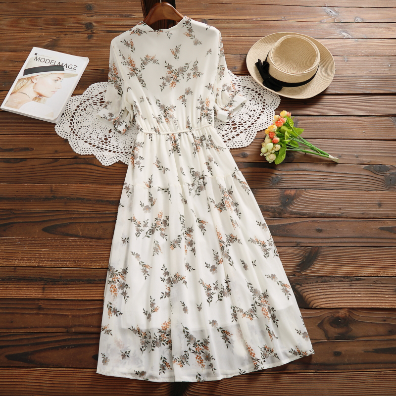Mori Girl Sweet Dress 2020 New Summer Women Floral Print Long Chiffon Dress Female Short Sleeve Pleated Vestidos Korean Fashion 2