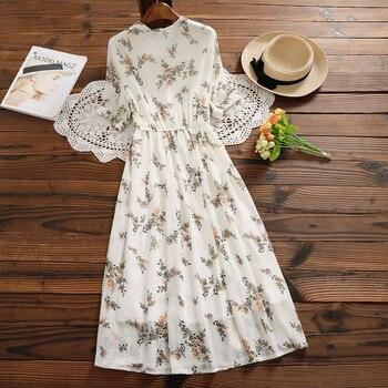 Mori Girl Sweet Dress 2020 New Summer Women Floral Print Long Chiffon Dress Female Short Sleeve Pleated Vestidos Korean Fashion 2